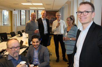 Tobias Scharin träffar representanter från några LO-fackförbund.